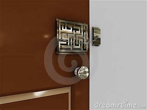 doors with lock maze with a chain stock photos image