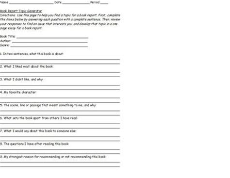 questions for a book report book report topic generator
