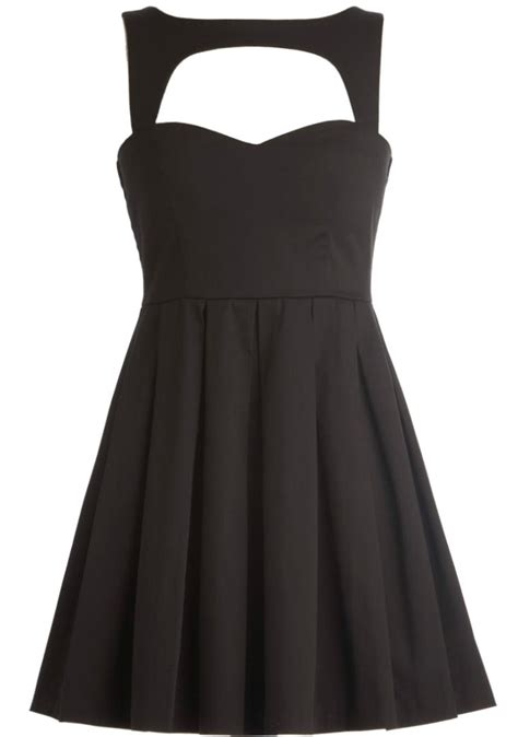 Rickety Rack by Hollowed Dress Black Cut Out Neck Skater Dresses Ricketyrack