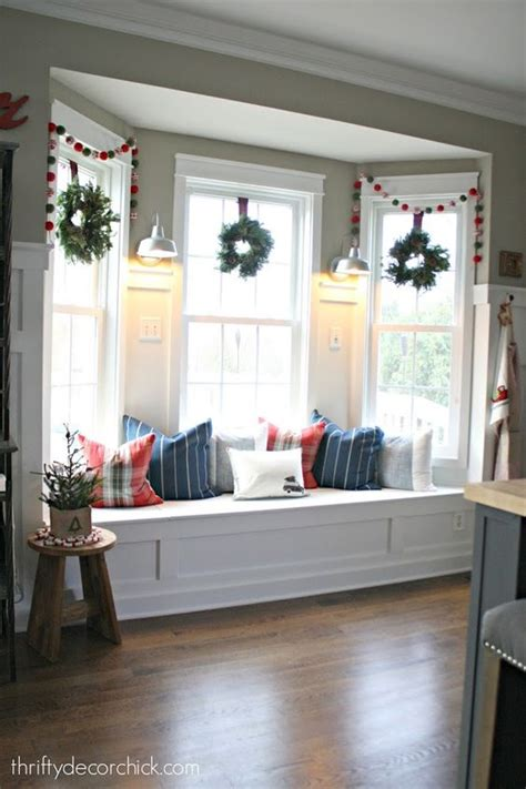 kitchen bay window seating ideas bay window seat in kitchen decorated for christmas