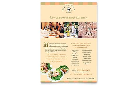 advertising card template catering company flyer template design
