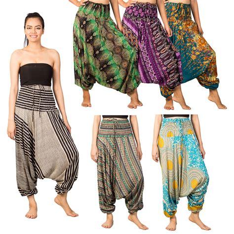 Jumpsuit Instyel 2in1 womens flowy harem boho baggy hippie 2in1 jumpsuit