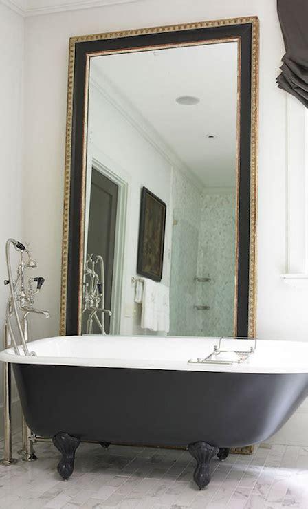 bathtub mirror black marble brick floor tiles design ideas