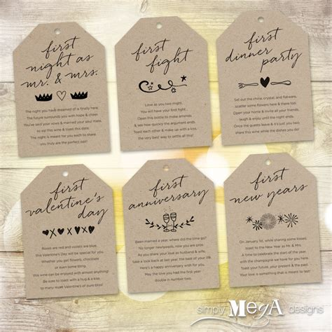 Wedding Gift Wine by Marriage Milestone Wine Basket Tags Set Of 6 Bridal