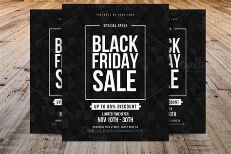 Minimal Black Friday Flyer Template Flyer Templates On Creative Market Black Flyer Template