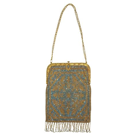antique beaded purses antique steel beaded purse in blue gold silver