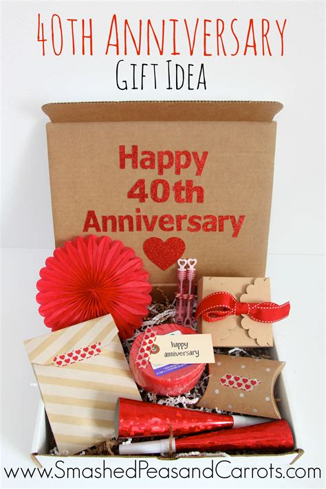 40th wedding anniversary diy gifts happy 40th anniversary gift idea smashed peas carrots
