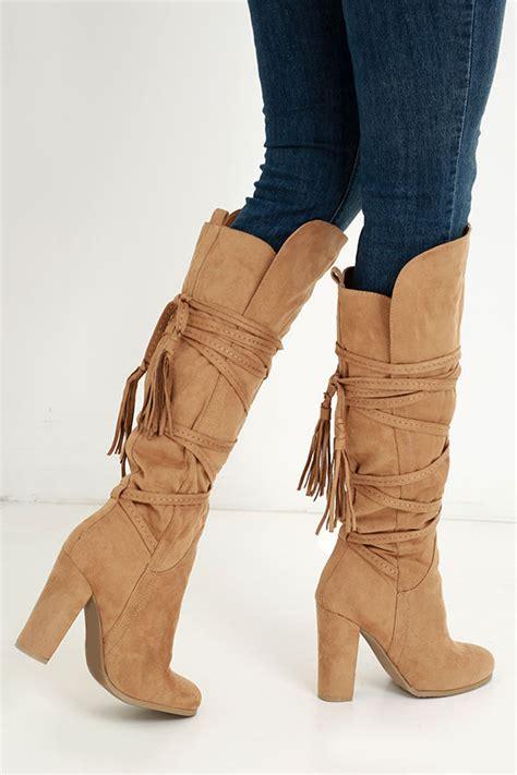 camel high heel boots camel boots knee high boots high heel boots 49 00