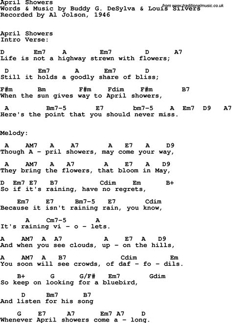 April Showers Song by Song Lyrics With Guitar Chords For April Showers Al