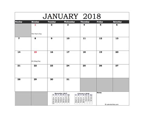 Free 2018 Excel Calendar With Us Holidays Free Printable Templates Excel Calendar Template 2018 With Holidays