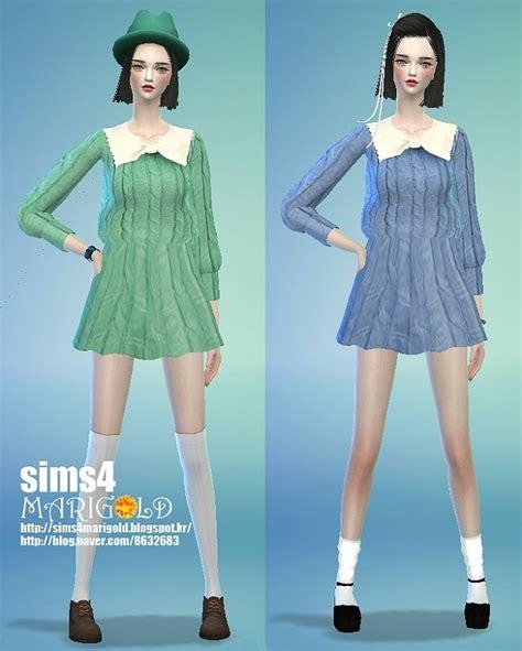 Dress Ribbon 4 ribbon knitted onepiece dress at marigold 187 sims 4 updates