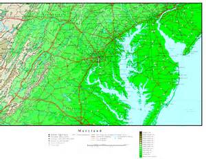 elevation map of maryland elevation map