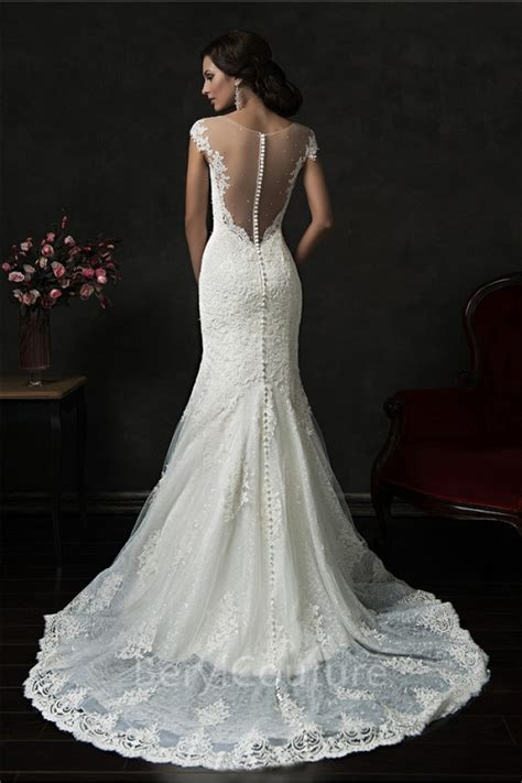 lace sheer wedding gowns mermaid illusion neckline sheer back cap sleeve tulle lace