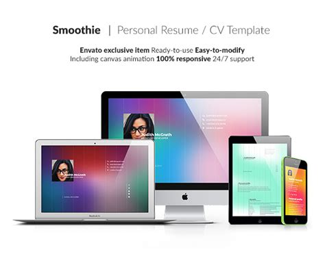 Smoothie Creative Personal Resume Cv Template By Boom Apps Themeforest Smoothie Website Template