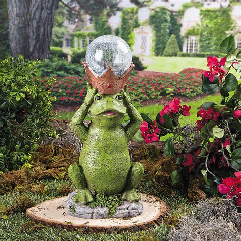Flower Garden Statues Frog Prince Solar Garden Statue Supplies Outdoor Decor Garden Home Decor