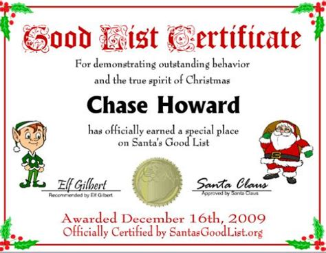 elf on the shelf nice list certificate printable good list certificate free printables pinterest nice