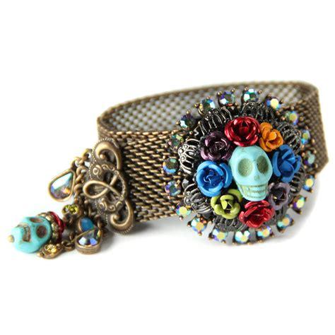 dia de los muertos jewelry day of the dead earrings orange day of the dead calavera skull bracelet