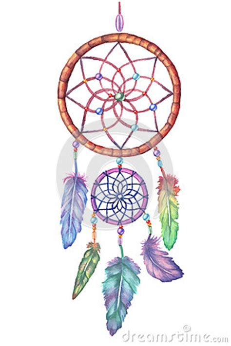 Orchid Wall Stickers watercolor dream catcher hand drawn illustration stock