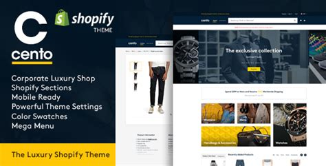 shopify themes luxury cento corporate luxury products responsive shopify