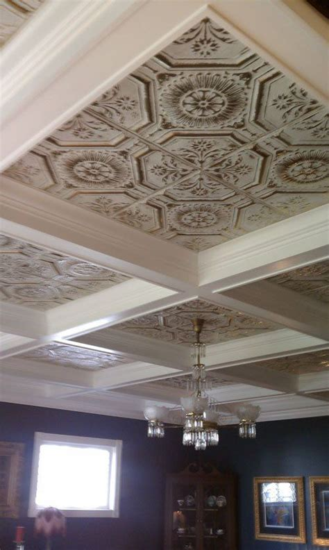 American Tin Ceiling Company by We Built A Coffered Ceiling Around Your Tin Ceiling And