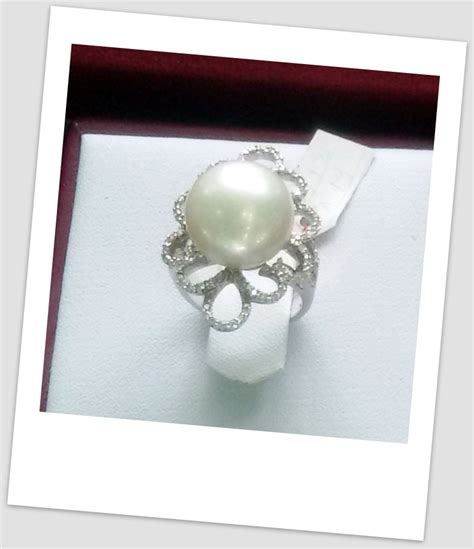 Cincin Handmade - handmade gold ring with south sea pearl ctr 112 harga