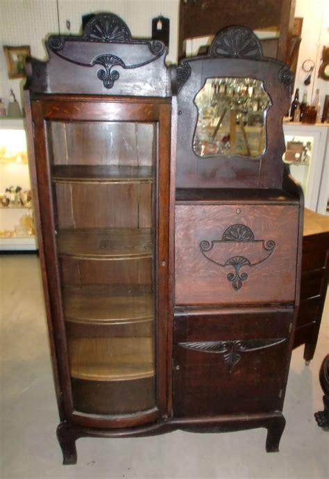 Antique Old Finish Oak Side by Side Secretary Bookcase
