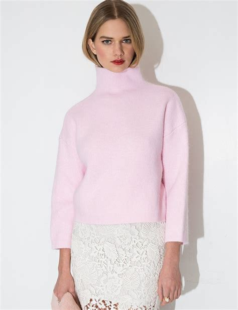 Turtle Neck Crop Top Pink pink turtleneck sweater pastel cropped sweater