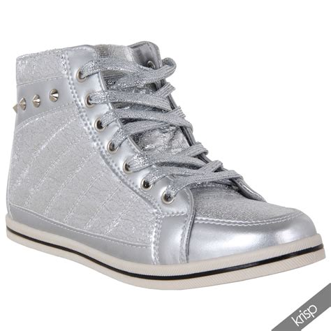 shiny sneakers womens lace up studded shiny metallic flat ankle trainers