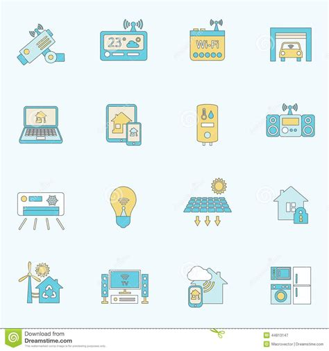 smart home icons flat line stock vector image 44813147