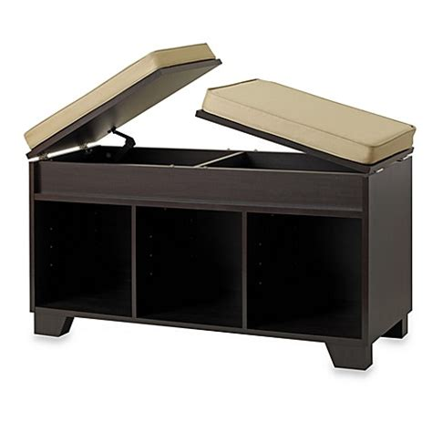 bed bath and beyond bench real simple 174 3 cube split top storage bench in espresso