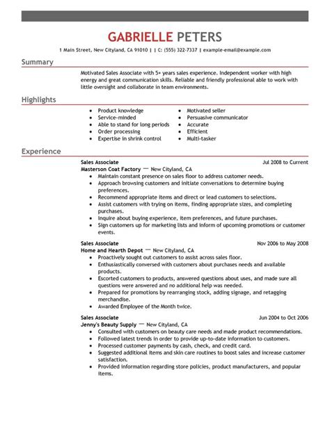 Sle Resume Skills Profile Exles by Sales Associate Resume Sle My Resume
