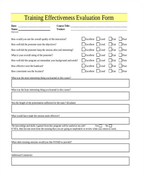 effectiveness evaluation form template 21 free evaluation form