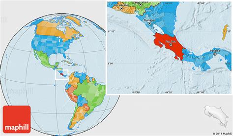 where is costa rica on a world map political location map of costa rica