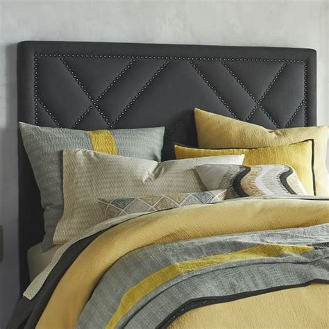 Headboard Nailhead by Patterned Nailhead Headboard Upholstered West Elm