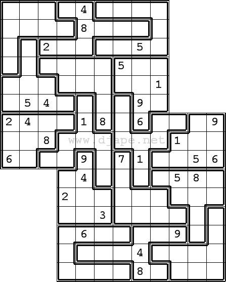 printable sudoku jigsaw puzzles jigsaw twodoku overlapping sudoku variants puzzle