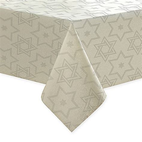 buy metallic hanukkah 70 inch tablecloth from bed bath beyond
