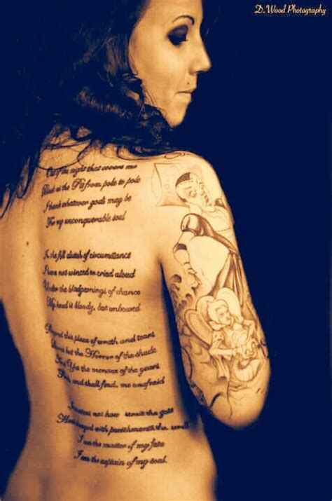 invictus poem tattoo my invictus back poem in half sleeve