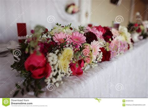 Beautiful Flower Decoration by Beautiful Flower Decoration On Wedding Table Stock Photo