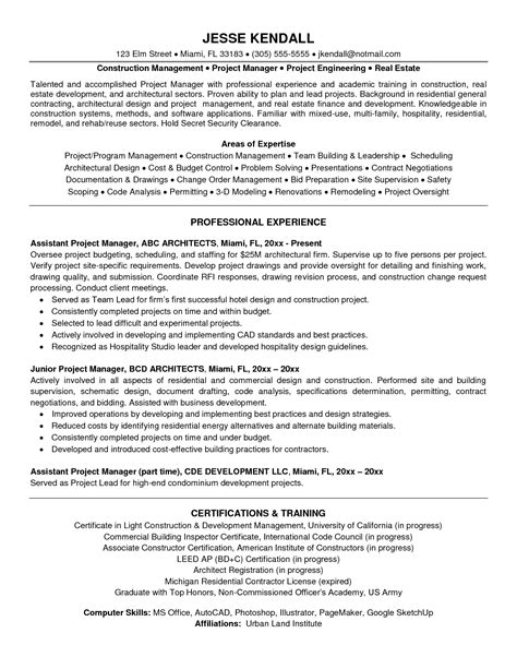 construction project manager resume sles best program manager resume sle recentresumes