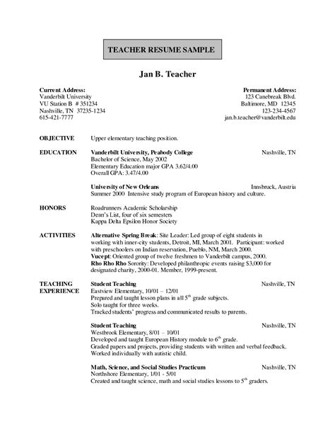 free sle resume for teachers freshers sle resume india resume ideas