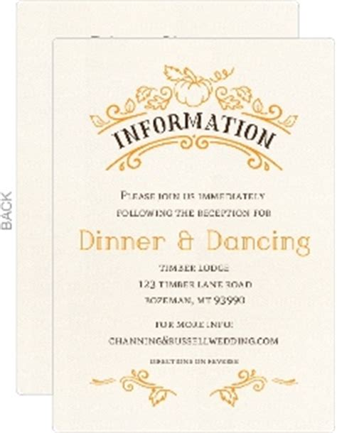 what to include on wedding enclosure cards rustic pumpkin wedding invitation rustic wedding invitations
