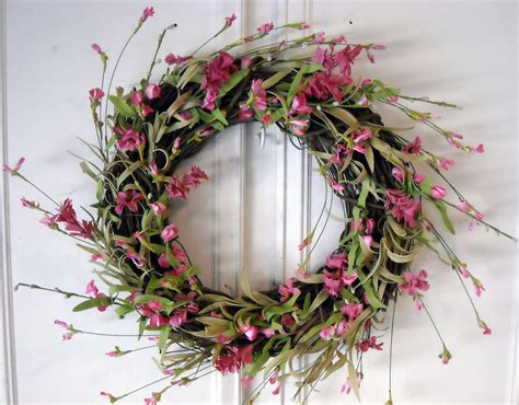 spring wreath spring wreath spring flowers grapevine wreath pink