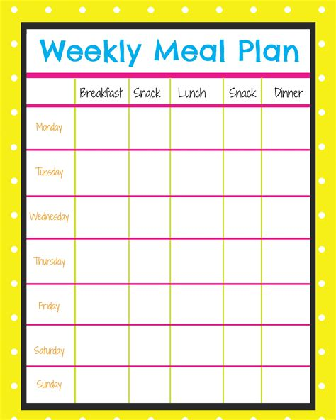 printable weekly menu planner with snacks weekly menu planner more excellent me