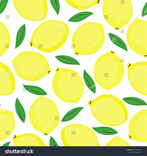 cute lemon pattern seamless background yellow lemons green leaves stock