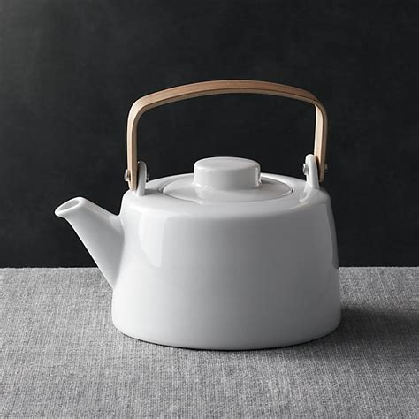 crate and barrel tea pot teapot with wooden handle crate and barrel