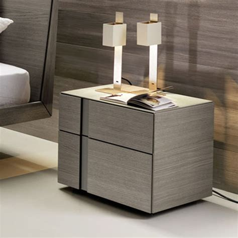 modern side tables for bedroom muse 2 drawer bedside table grey oak