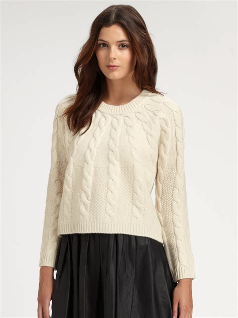cropped cable knit sweater burberry brit cropped cable knit sweater in brown lyst