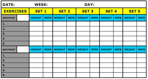 bodybuilding excel template what should be recorded in my workout journal physical