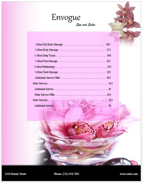 spa price list template microsoft word templates