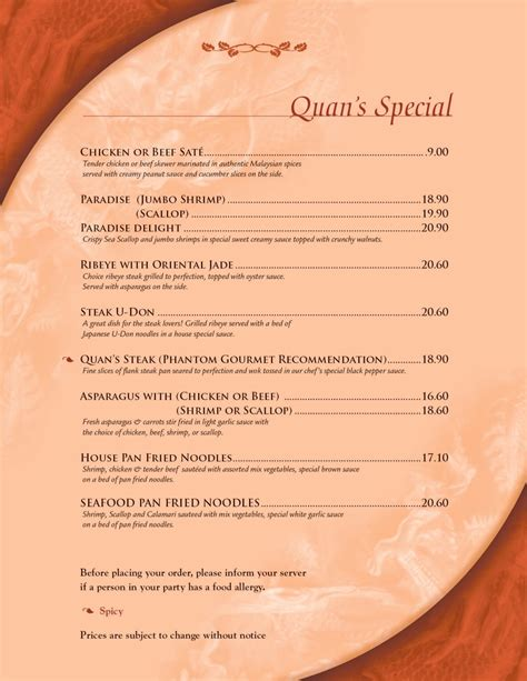 Quans Kitchen Mansfield by Quans Kitchen Menu Page 1 Quans Special